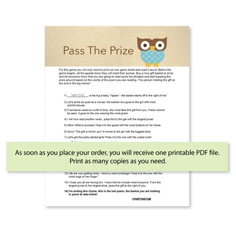 Pass The Prize Baby Shower Poem by Print It Baby