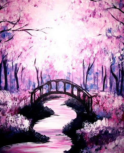 paint nite japanese cherry blossoms 30 best canvas painting ideas for beginners