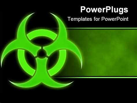 Green Glowing Bio Hazard Sign On A Black Background Powerpoint Template Background Of Biohazard Biohazard Powerpoint Template Free