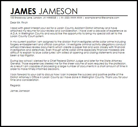 Assistant District Attorney Cover Letter Sample   LiveCareer