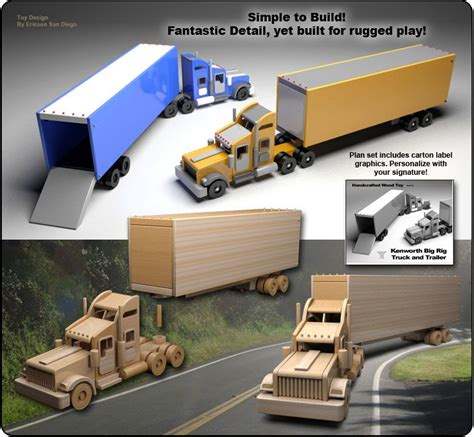 wooden kenworth truck kenworth semi truck trailer wood plan set