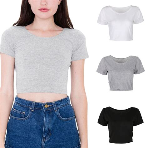 good cotton black and white short crop belly dance sport women lady plain scoop neck deep back short sleeve cropped