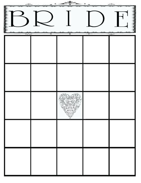 Template For Blank Bingo Cards Free by Printable Printable Bridal Shower Bingo Template Blank