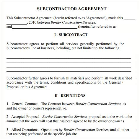 contractor subcontractor agreement template subcontractor agreement 13 free pdf doc