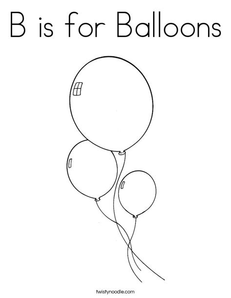 B Is For Balloons Coloring Page Twisty Noodle A Is For Coloring Pages