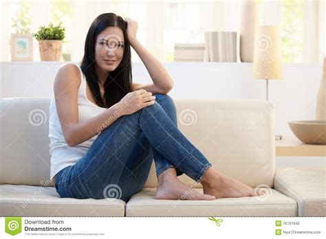 woman couch pretty woman posing on couch stock photo image 16761840