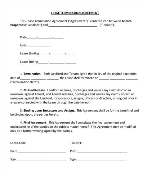 Lease Termination Agreement Template by Landlord Lease Termination Letter Writing A Pasture Lease Contract On Pasture Lease Renewal