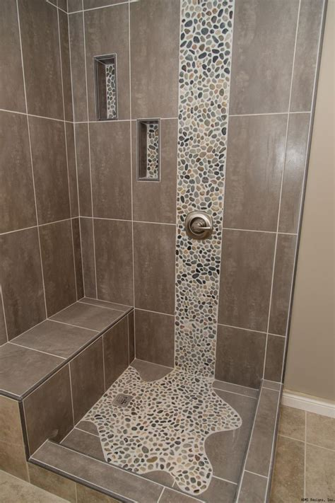bathroom tile showers pebble waterfall tile bathroom remodeling pinterest