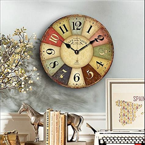 cafe de paris rustic french cottage style old wood wall 14 inch paris french style wood clock eruner rustic