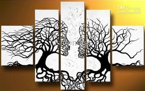 cheap 5 piece set red lovers tree loving landscape canvas 2017 abstract black white oil painting couple love tree