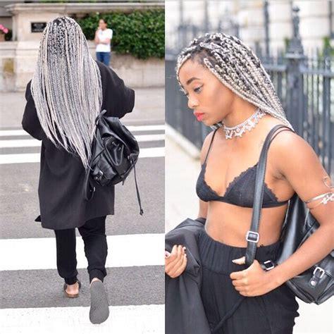 gray and back booty braids silver fox box braids braid it pinterest silver