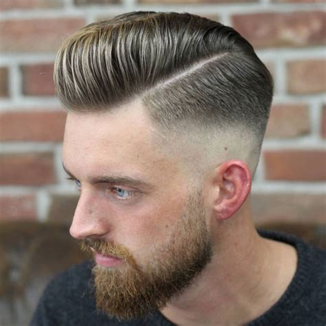 pompadour with hard part hard part haircut men s haircuts hairstyles 2018