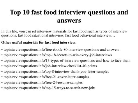 Mba School Questions by Top 10 Fast Food Questions And Answers