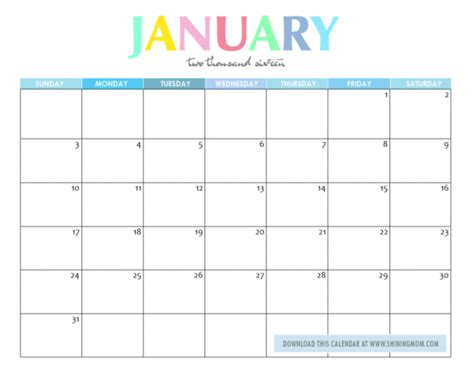 Calendar For January 2016 January 2017 Calendar Weekly Calendar Template