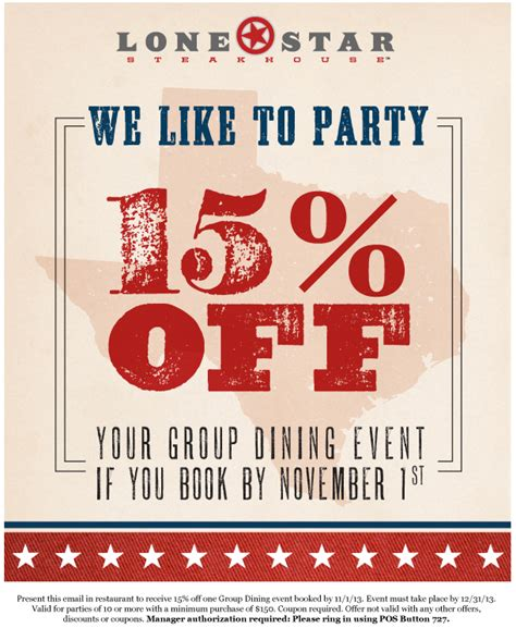 Printable Lone Star Steakhouse Coupons | lone star steakhouse 15 off group printable coupon
