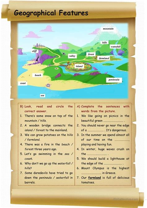 Geography Worksheets High School by Geographical Features Worksheet Free Esl Printable