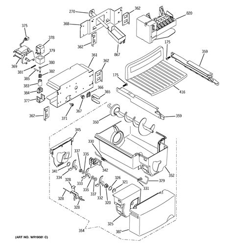ge refrigerator maker parts diagram maker dispenser diagram parts list for model
