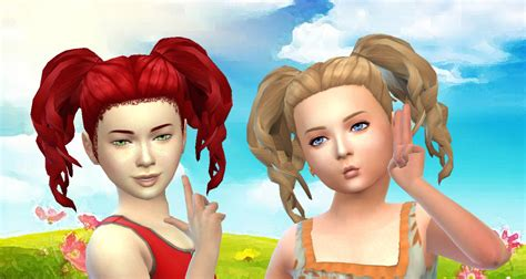 pigtails hair sims 4 my sims 4 blog kiara24 curls pigtails hair for girls