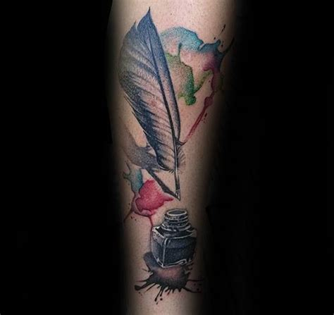 tattoo pen watercolor 50 quill tattoo designs for men feather pen ink ideas