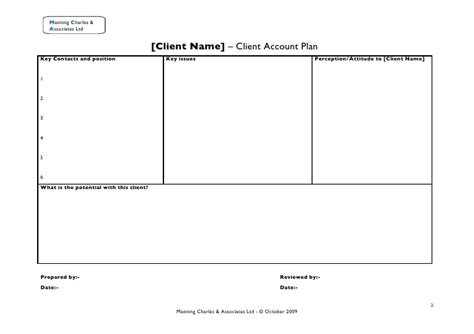 Client Plan Template client account plan