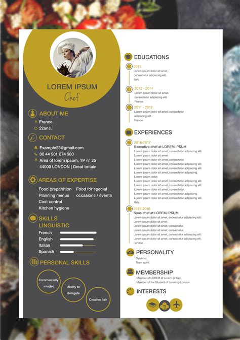 Chef Resume Template My Own Work Pinterest Template Cv Template And Cv Resume Template Chef Portfolio Template Free
