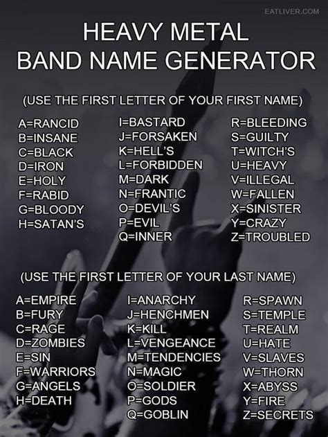Meme Name Generator - heavy metal band name generator my best humor pin
