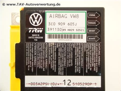 3co Bag air bag vw8 unit vw 3c0 909 605 j trw 391 130 09