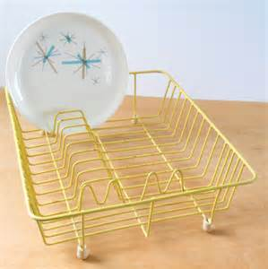vintage dish drainer yellow plastic coated by lisabretrostyle2