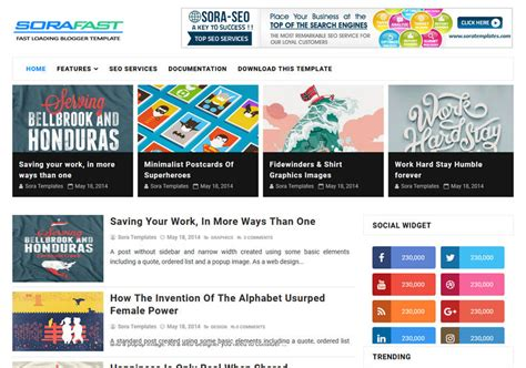 fast loading templates for blogger sora fast loading blogger template blogspot templates 2018