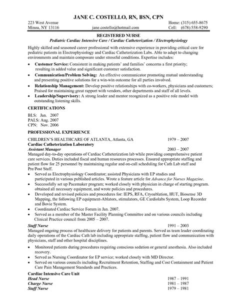 sle of nursing resume er nusre resume templates free