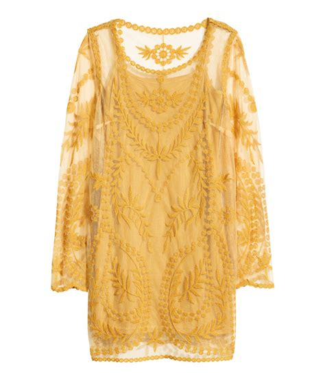 Dress A24397 Yellow M h m lace dress in yellow lyst