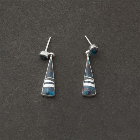 Turquoise Amp Silver Inlay Earrings