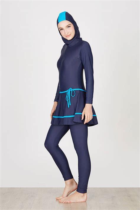 Baju Renang Muslimah Ukuran Xl Dewasa Sbdp 335 sell baju renang muslimah dewasa dongker list biru sportwear hijabenka