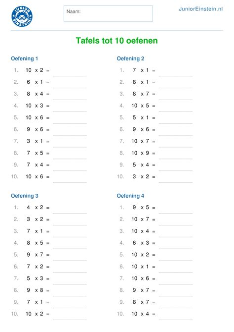 alle tafels van 1 tot 10 werkblad tafels tot 10 oefenen