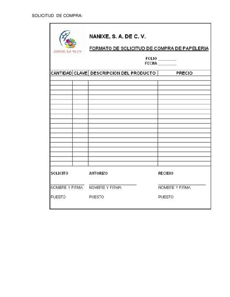 departamento de compra formatos de requisici 243 n y orden de formatos