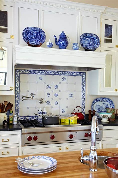 french blue and white ceramic tile backsplash design ideas for white kitchens traditional home