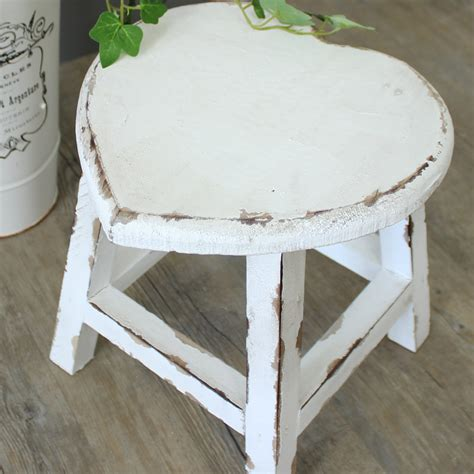 small white painted wooden stool shabby chic