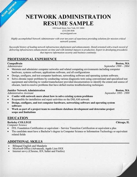 Network Administrator Resume by Network Administrator Resume Sle Best Professional