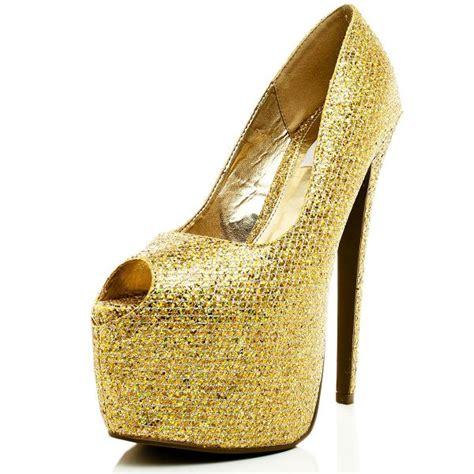 gold glittler heeled court shoes buy gold glitter heeled