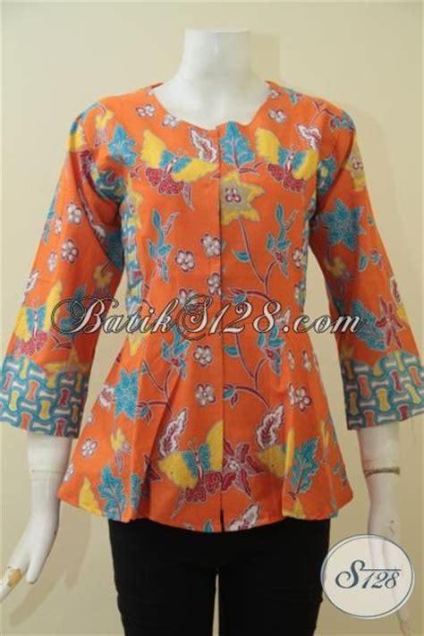 Seragam Kantor Pos Size M Wanita Orange batik blus orange model terbaru yang trendy dan modis baju batik proses print kesukaan