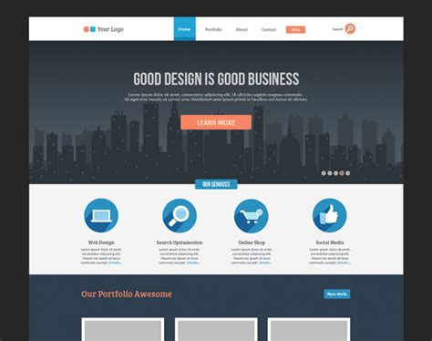 Website Templates Flat Business Website Template Free Psd Psdexplorer