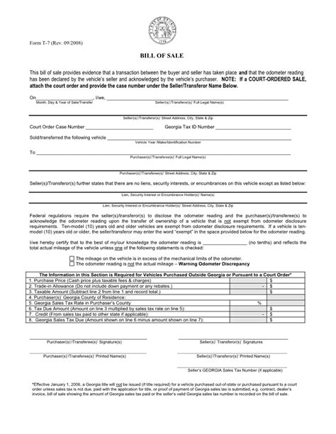 Printable Georgia Vehicle Bill Of Sale | free georgia vehicle bill of sale form download pdf word