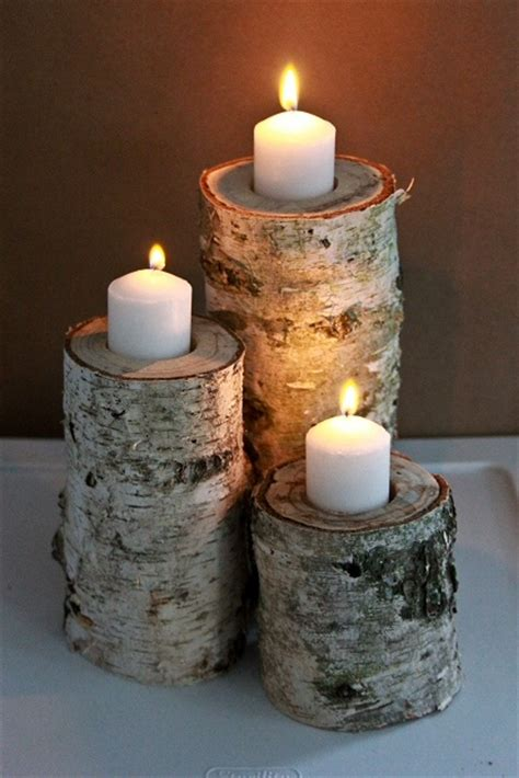 diy candle crafts diy candle holders from birch logs do it yourself crafts