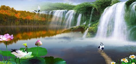nature background natural scenery waterfall background