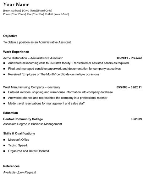 chronological resume format template resume template