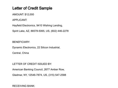 Sle Of Credit Letter In Business Letter Of Credit