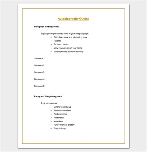 memoir outline template autobiography outline template 23 exles and formats
