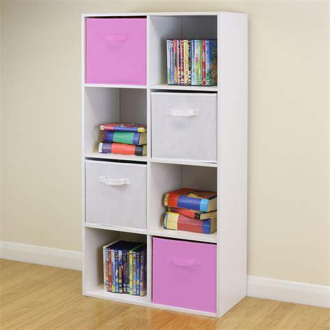 8 cube pink white storage unit boys