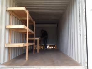 Container Store Bookshelves Custom Shelving And Workbench In Conex Container Simple