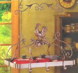 home country kitchen decor rooster hanging 8 pot pan rack